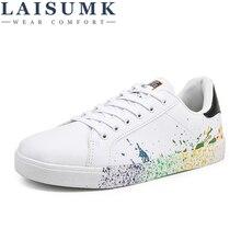 LAISUMK Boys Brand White Shoes Mix Colors Ink Painting Mens Colorful mans Plus Large Size US 11 12 Euro 45 46