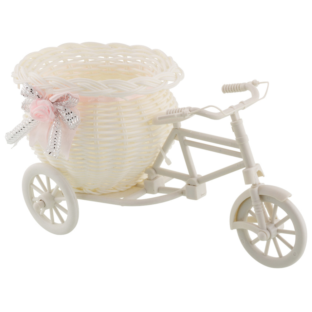Flor plástico blanco triciclo bicicleta diseño flor cesta contenedor para flor planta hogar boda decoración florero 23 * 12.5 * 9 cm