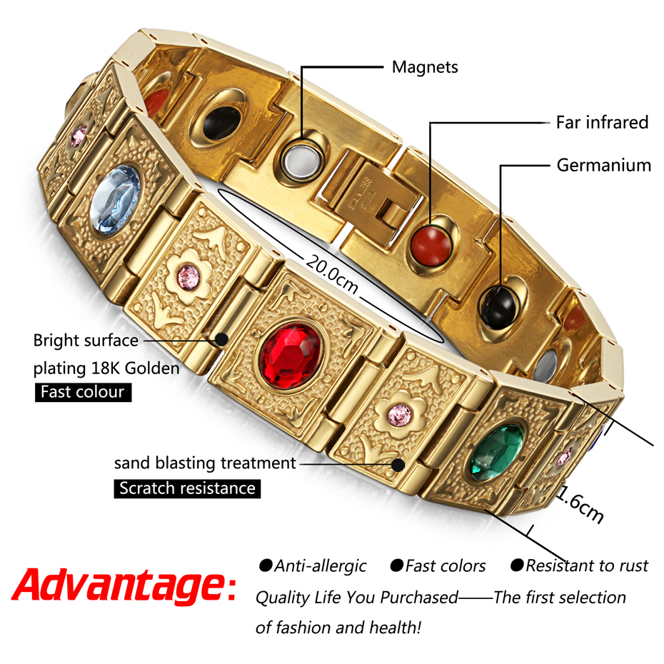 Rainso Stainless Steel Bio Energy Bracelet Fashion Health FIR Bangle Magnetic Jewelry Bracelets For lady 3