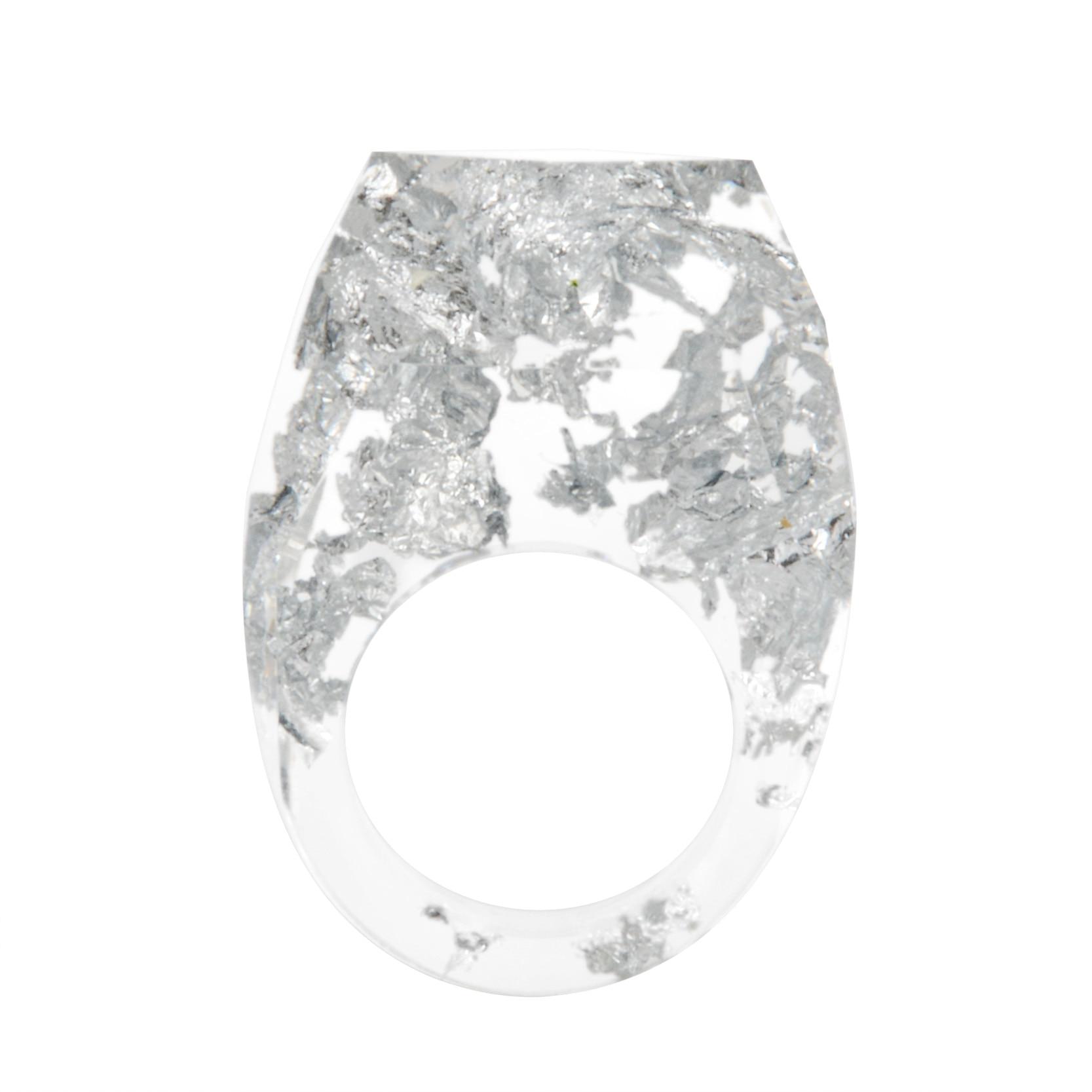 חדש שקוף שרף שיבוץ זהב/כסף נייר כסף עבודת יד טבעת שרף תכשיטי חתונה כלה אירוסין אבזרים