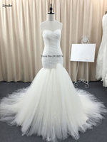 Real photo 2017 Robe De Mariage Trouwjurk Mermaid Wit Sweetheart Vestidos De Novia Custom Made Bruid Gown met Plooi