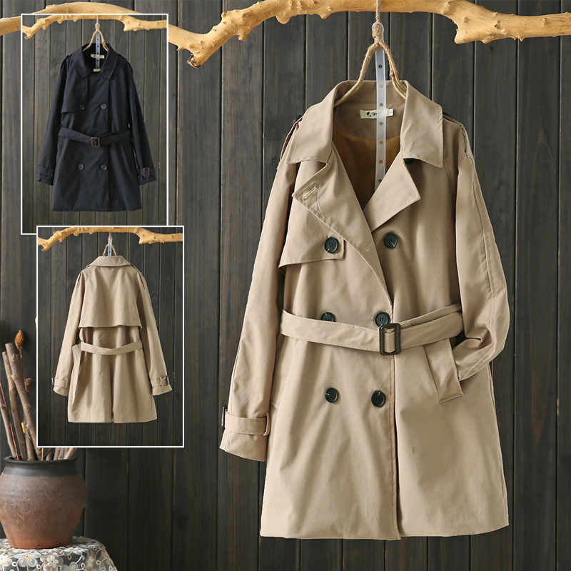 2019 Autumn Trench Coat Casual Women's Long Outerwear Loose Khaki With Belt Office Lady Business Windbreaker Large Size 4XL M46