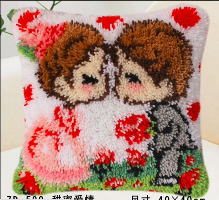 CUTICATE Red Flower Latch Hook Rug Kit Embroidery Crafts DIY Pillow Case Cushion Cover 40x40cm