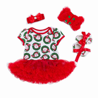 Infant Baby Outfits Newborn Christmas Clothes Tutu Skirt with Rompers Headband Shoes Socks Children Clothing Christmas Gift