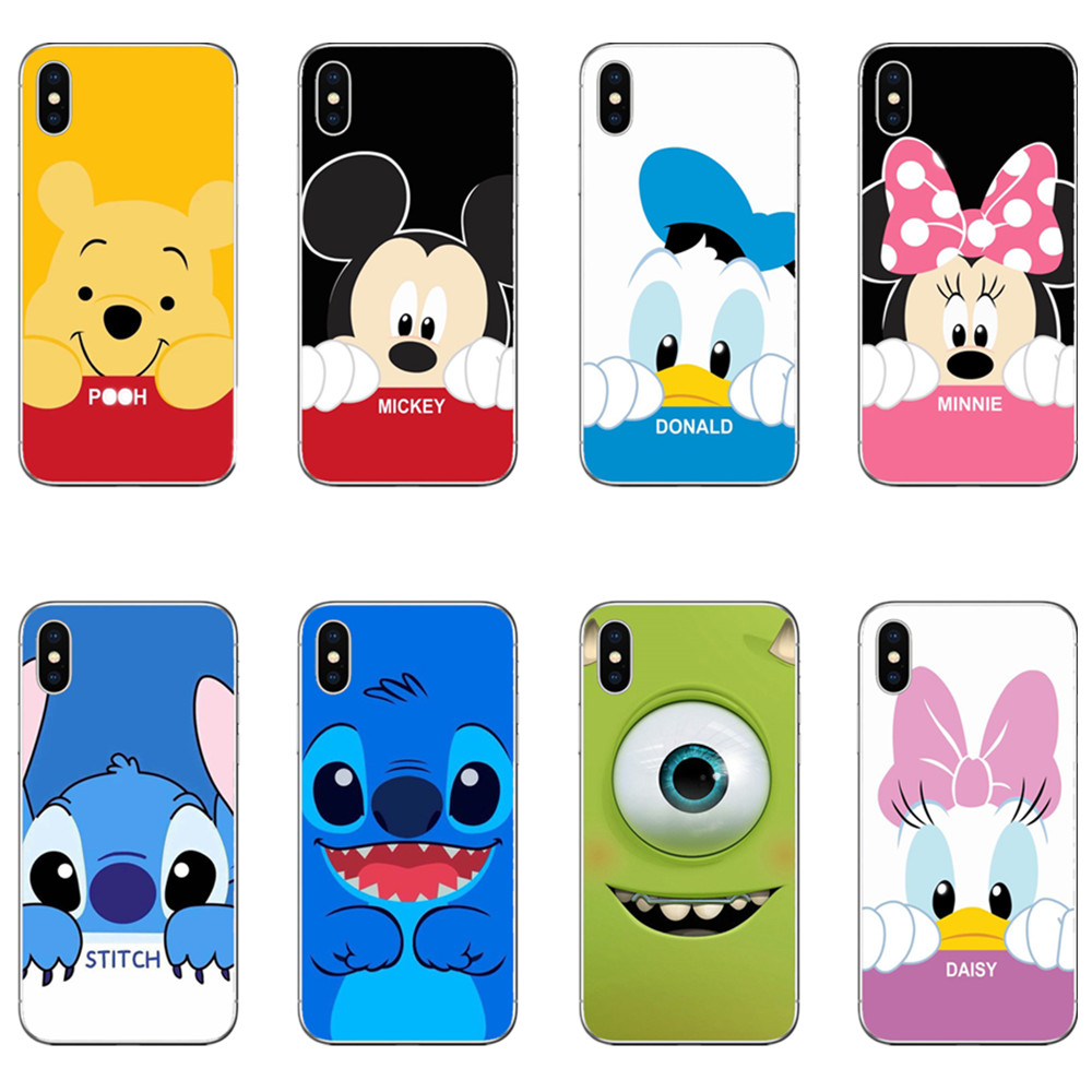 Cartoon Pink Lovers Stitch Mickey Mouse Minnie Winnie pooh Soft silicone Phone Cases For iPhone X XS XR MAX 5 5S 5SE 6 7 8Plus