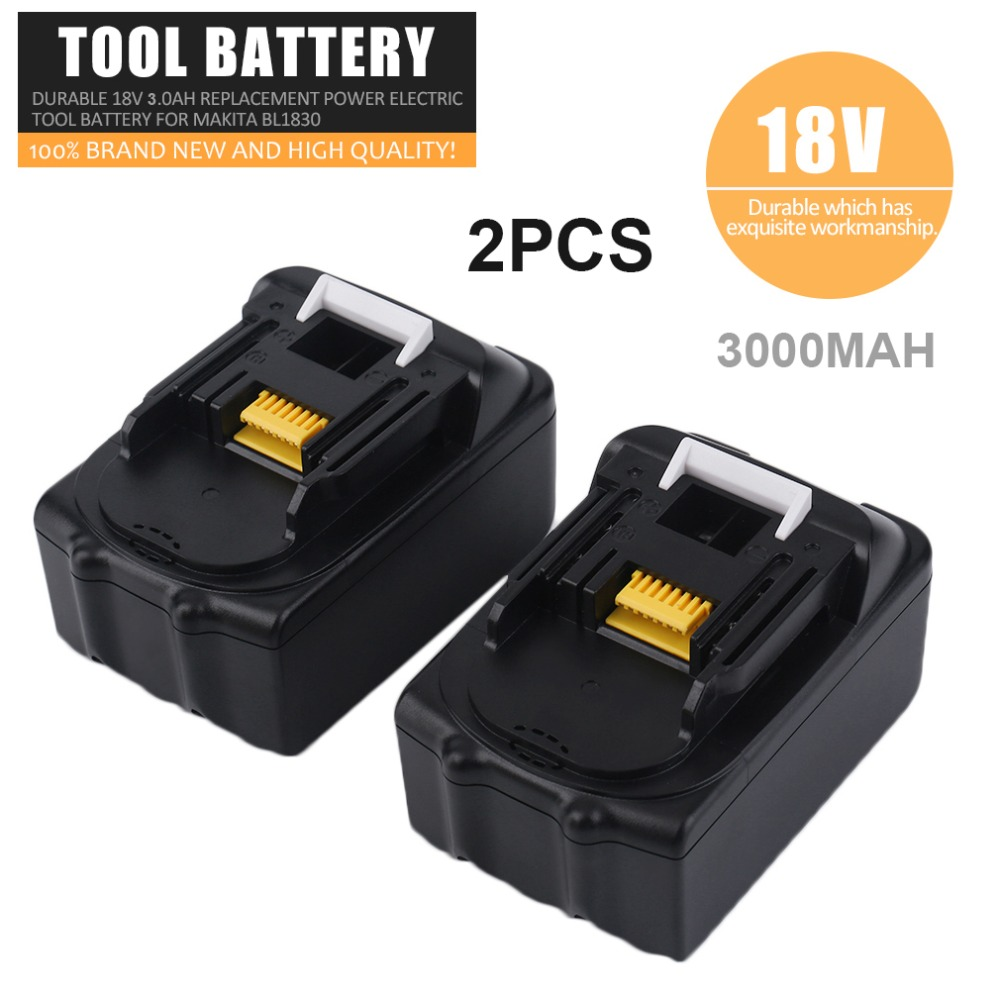 2pcs/Set 18V 3000MAH Li-ion Replacement Battery Lithium-ion Power Tools Batteries Rechargeable Battery For Makita BL1830 eleoption 2pcs 18v 3000mah li ion power tools battery for hitachi drill bcl1815 bcl1830 ebm1830 327730
