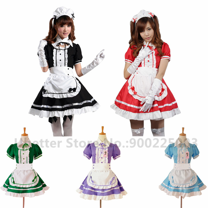 Sexy French Maid Costume Sweet Gothic Lolita Dress Anime Cosplay Sissy Maid Uniform Halloween Costumes For Women C058