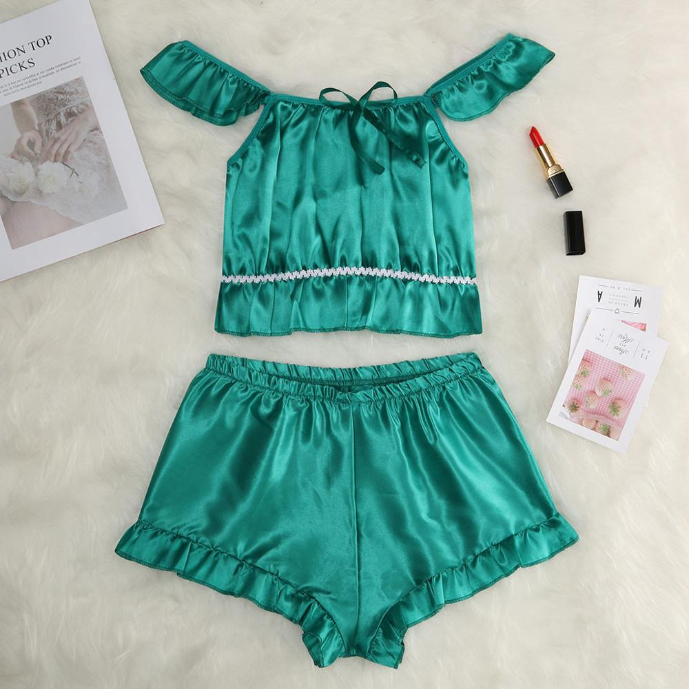 S-3XL Size Women's Sleepwear Sexy Satin Sleepwear Set Slash Neck Pyjamas Short Sleeve Cute Cami Top and Short pijama mujer 2019