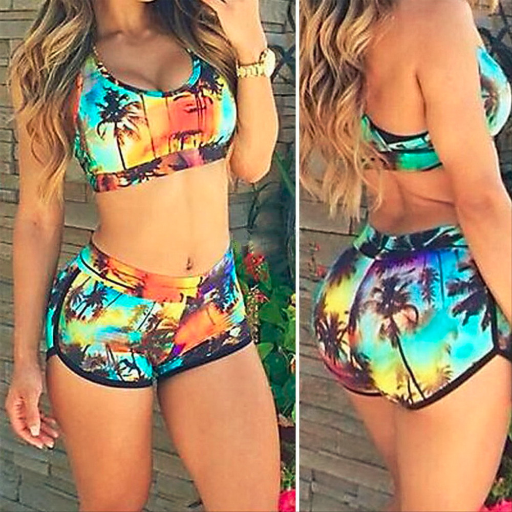 ФОТО HWCoconut Palm Pattern Multi-color Sexy Women's Ladies Bandage Bikini Bra Set Swimsuit Swimwear Bathing Suit