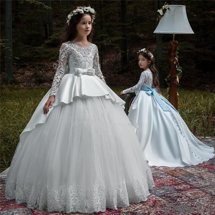 Princess Customize Ball Gown   Flower     Girl     Dresses   Lace Appliques Big Sash Floor Length Little   Girls   Pageant Gowns Birthday   Dress
