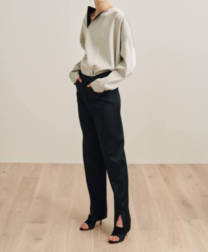 Pantalones de alta calidad negros de Malta pantalones de vestir slits Hem moda mujer pantalones de diseño especial inferior 2019SS tela brillante-in Pantalones y pantalones pirata from Ropa de mujer    1
