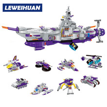 LEWEIHUAN 8 in 1 Space War Warship Model Building Block Compatible Legoe 683Pcs DIY Toys For Children Christmas Birthday Gifts(China)