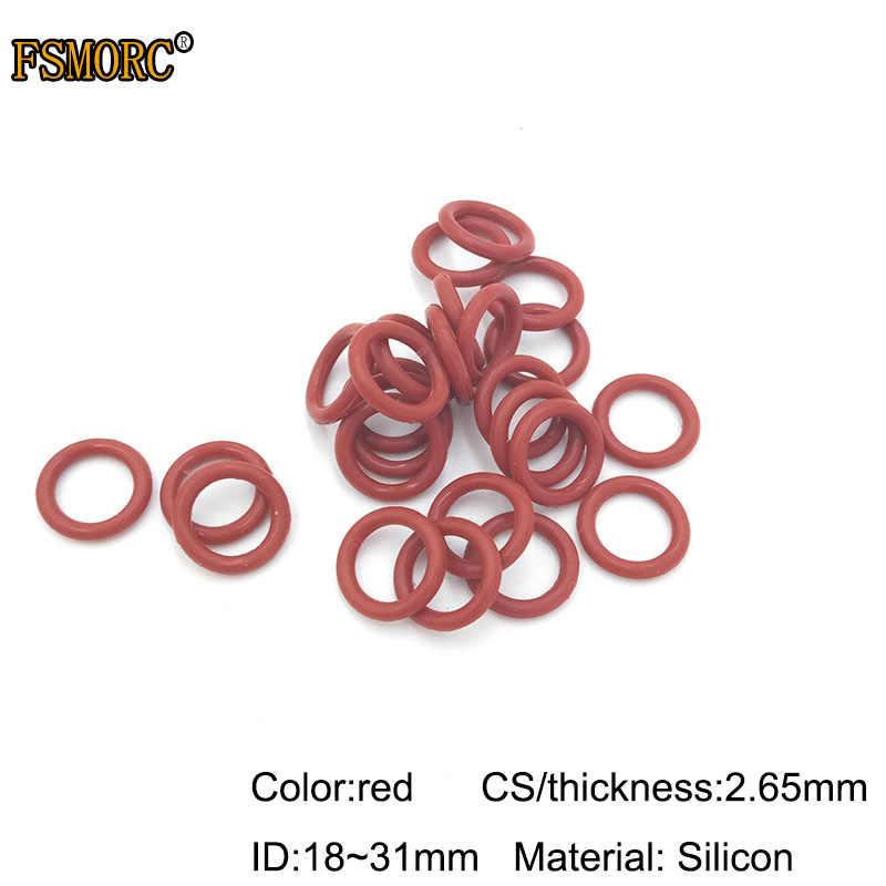 Witte en rode siliconen o-ringen ID 18 19 20 21.2 22.4 23.6 25 25.8 26.5 28 29 30 31 mm * 2.65mm Dikte Food Grade Zeehonden geen gif