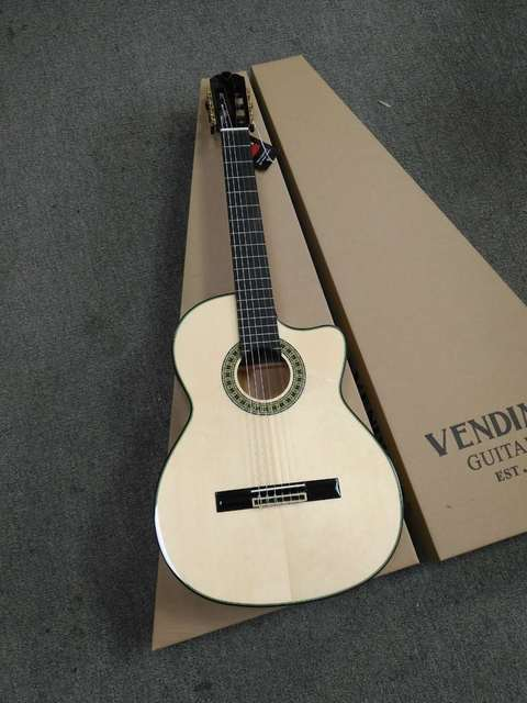 """Full Solid Handmade 39"""" Electric Acoustic Flamenco guitar With Solid Spruce/Solid Aguadze Body,Classical guitar With Pickup"""