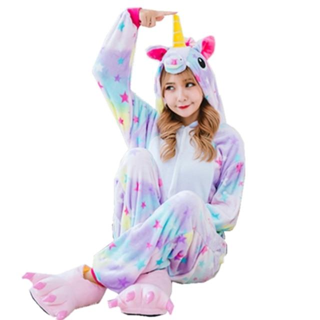 63184b912f 2017 Hot New Wholesale Rainbow Unicorn Onesie Adult Unisex Cosplay Costume Pajamas  Sleepwear For Men Women Home Wear