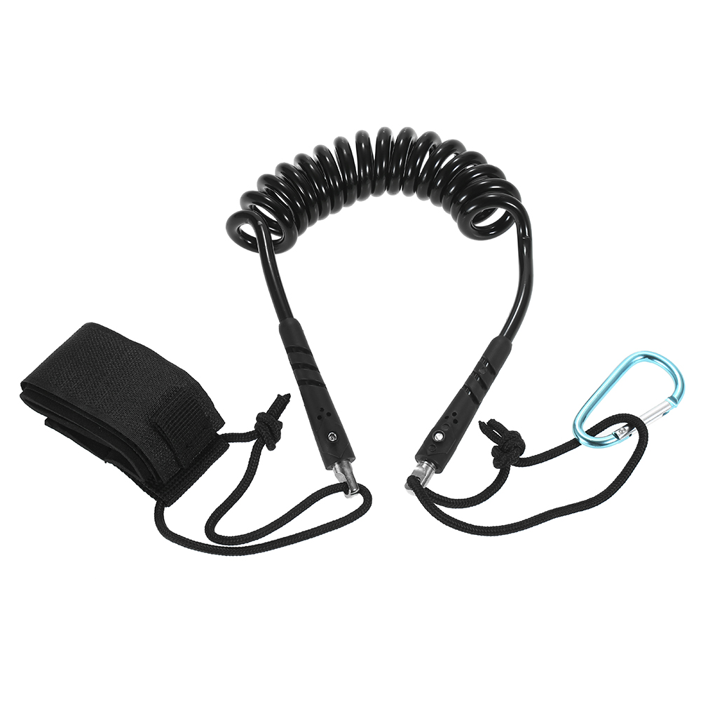 Kayak Leash Elastic Coiled Paddle for Canoe Rowing Boat Safety Rod Lanyard Accessories Stretch to 4 Feet