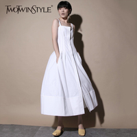 TWOTWINSTYLE Suspenders Dress Female Spring Tunic High Waist Ruched Pocket Midi Long Dresses For Women Fashion