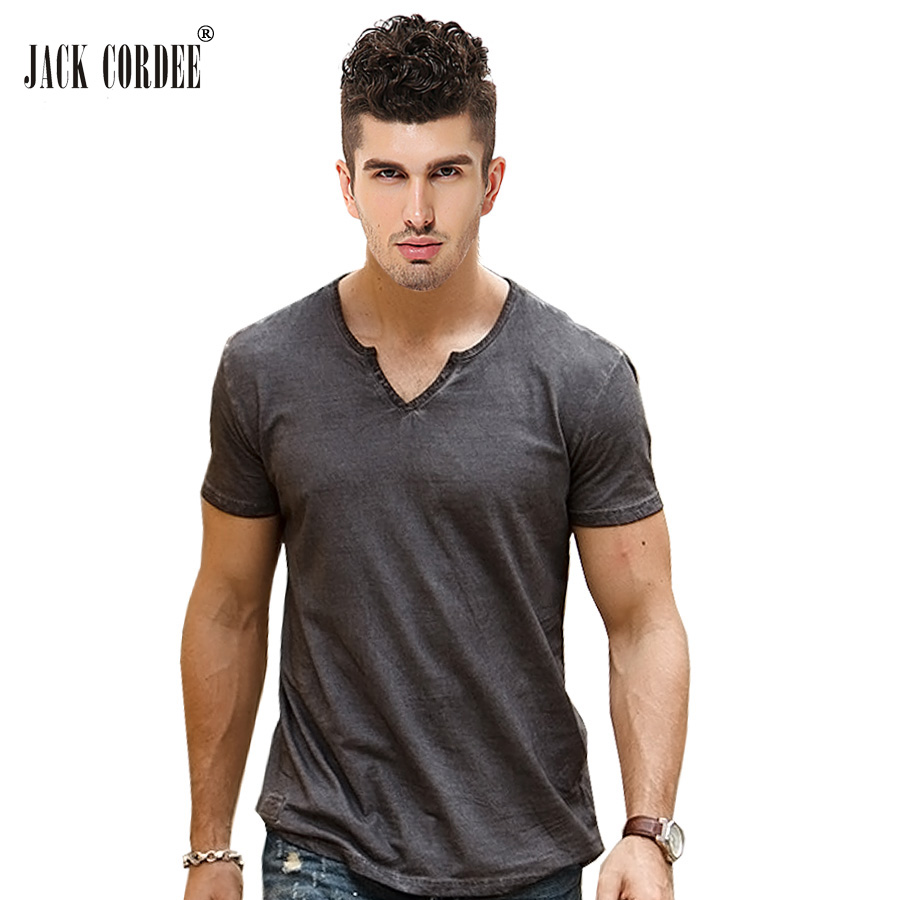 JACK CORDEE Hot Sale   T  -  Shirt   Men Slim Fit V-Neck Fashion Designer Tshirt Solid Cotton Tee   Shirt   Short Sleeve Brand   T     Shirt   Men