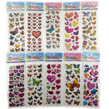 10pcs Different 3D Cute Anime Stationery Sticker On Notebook Phone Laptop Butterfly Love Heart Office School Supplies(China)