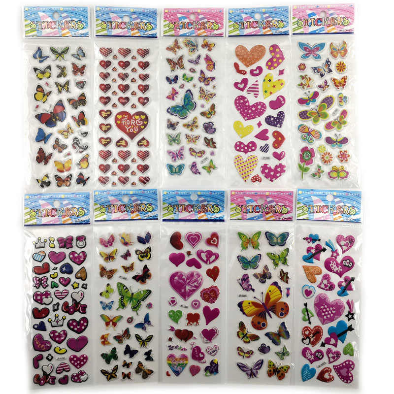 10pcs Different 3D Cute Anime Stationery Sticker On Notebook Phone Laptop Butterfly Love Heart Office School Supplies