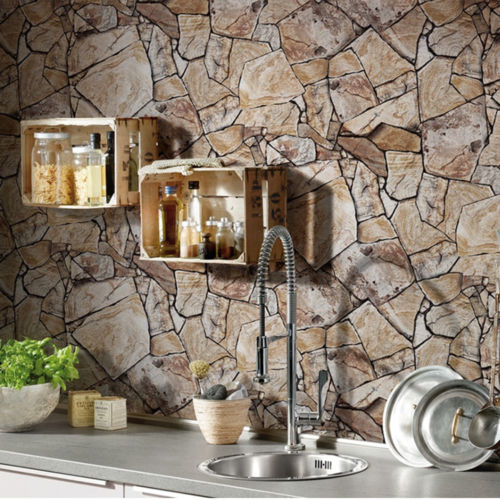 ФОТО Q QIHANG Modern Minimalist PVC Simulation Stone Pattern Wallpaper Beige Color Roll 0.53m*10m=5.3m2