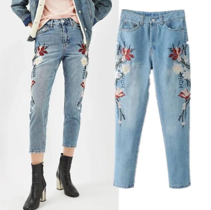 New arrival 2017 Spring  flower embroidery denim pencil pants fashion woman's jeans hot sale new arrival men cutout jeans fashion embroidery pencil trousers