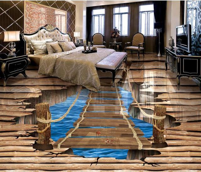 pvc self adhesive wallpaper 3d floor Pure wood split crack bridge ...