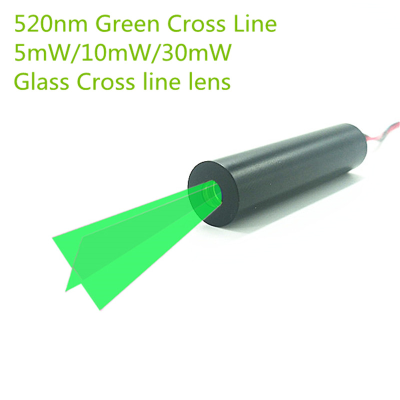 Custom 10mm 520nm 5mW 10mW 30mW  Green Glass 110 Degree Cross Line Laser Module Industrial Grade APC Driver