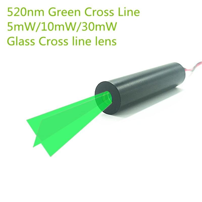 Custom 10mm 520nm 5mW 10mW 30mW  Green Glass 110 Degree Cross Line Laser Module Industrial Grade APC Driver