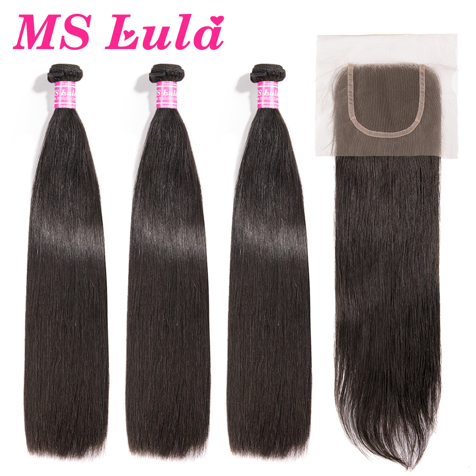 MS Lula Brazilian Hair Straight 3 Bundles With 4x4 Lace Closure Human Remy Hair Long Bundles
