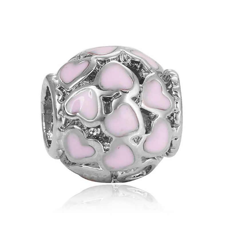DIY heart beads coeur jewelry bijoux bracciale bisuteria french bead silver perfumes mujer originales bracelet charms