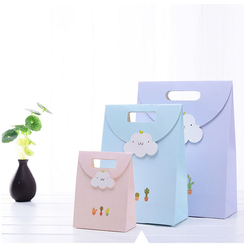 FANLUS  Present Gift Bag Sticky Sticker Paper Fresh Succulent Plant Cloud Pattern Party Candy Birthday Storage Bag