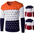 2016 Men'S Fashion Patchwork Print Sweater Men Leisure Slim Pull Homme V-Neck Long-Sleeved Sweater Solid Sweater Sweater