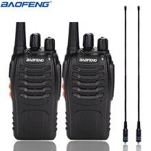 2 peças baofeng BF 888S walkie talkie uhf bf888s handheld rádio 888s comunicador transmissor transceptor + 2 NA 771 antena