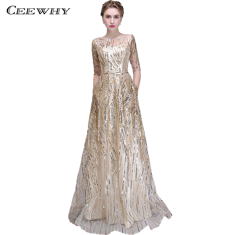 CEEWHY Sequined Formal Evening Dress Elegant Half Sleeve Long ...