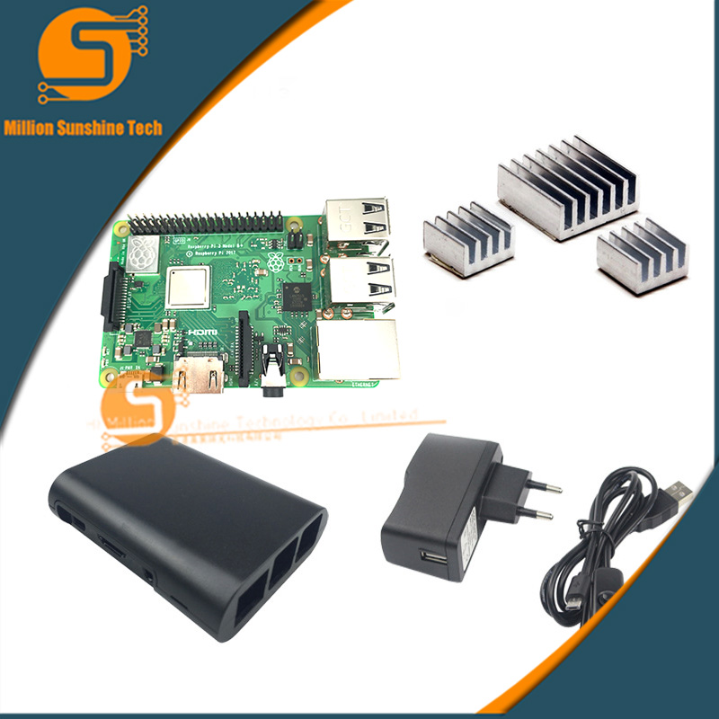 New Raspberry Pi 3 Model B+/3B+ +sink heat +case+5V 2.5A power free shipping free shipping pure nature raspberry extract raspberry ketones powder 500mg x 100caps