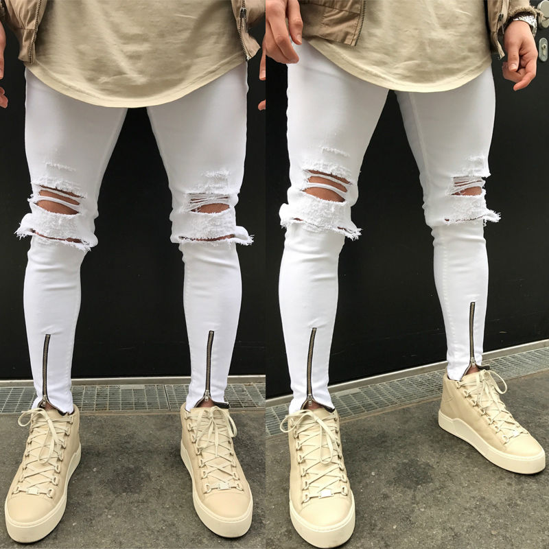 New Fashiion Men's Jeans Distressed Ripped Destroyed Wash Denim Zipper Ankle Skinny Hole Jeans inc international concepts petite new diva wash skinny leg jeans 6p $69 5