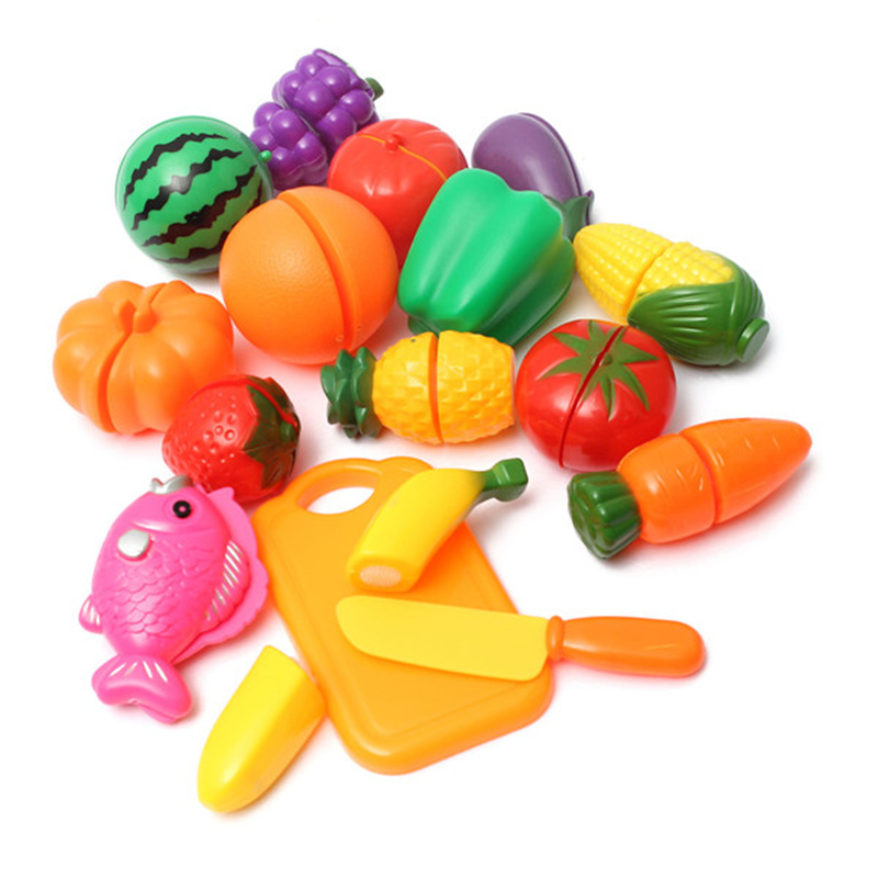 Hot Safety 16pcs Set Plastic Kitchen Food Fruit Vegetable Cutting Playsets Educational Toy Toys Children S In From