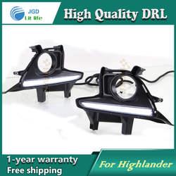 Бесплатная доставка! 12 В 6000 К СИД DRL дневные Бег свет чехол для Toyota Highlander 2015 рамки противотуманных фар автомобиля стиль