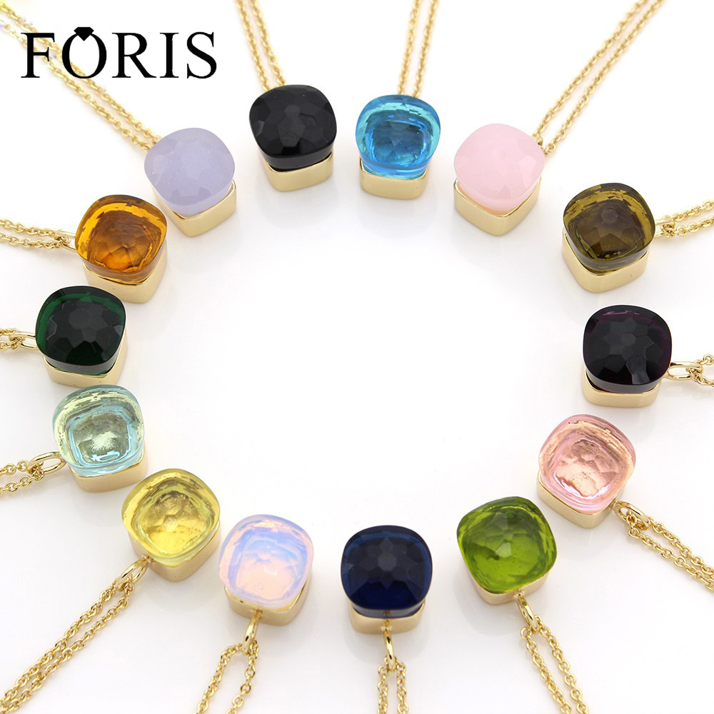 FORIS Luxury Gold Color Crystal Necklaces Pendants For Women Christmas Gift  Anniversary Jewelry 14 Colors PN037FORIS Luxury Gold Color Crystal Necklaces Pendants For Women Christmas Gift  Anniversary Jewelry 14 Colors PN037