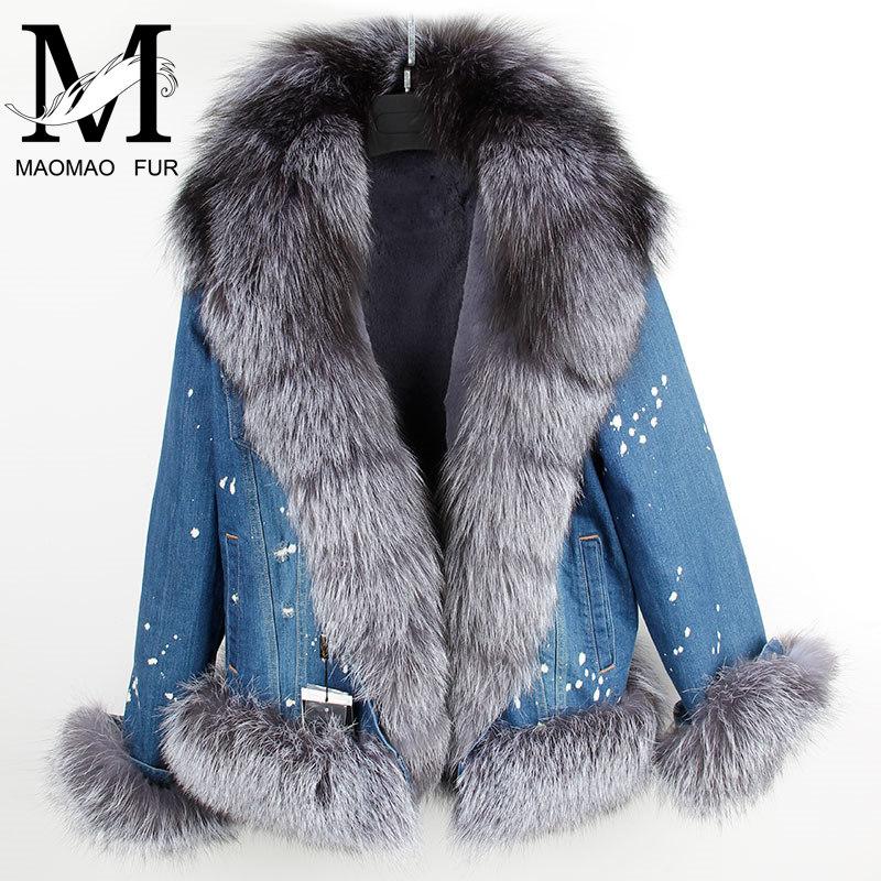 Women Winter Coat New Ladies Fur Parka Real Fox Fur Collar Female Jacket Thicken Warm Padded Cotton Faux Fur Lining Parka