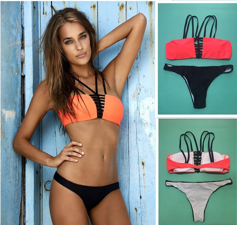 Orange Black Pad Keyhole Two Piecs Bikini Sets 2016 Swimsuit Double V Micro Hollow Pants Bathing Suit women Swim Wear