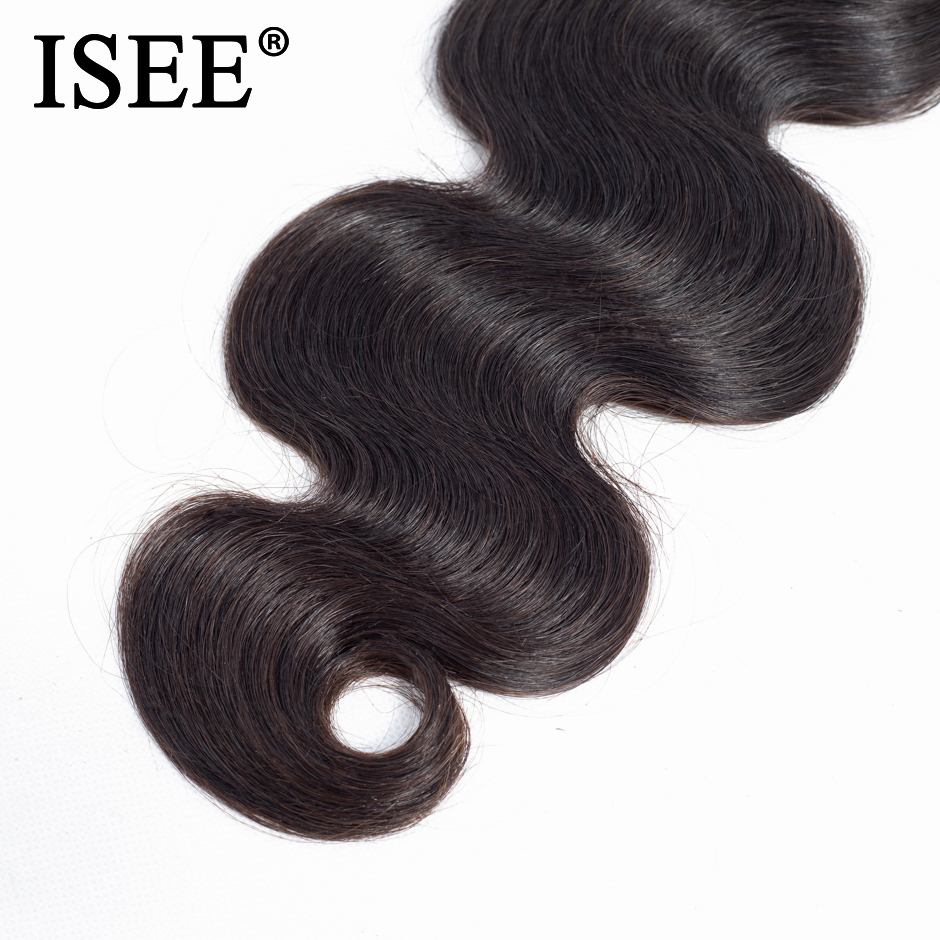 ISEE HAIR 3 Bundles Brazilian Body Wave Hair Extension Remy - Mänskligt hår (svart) - Foto 4