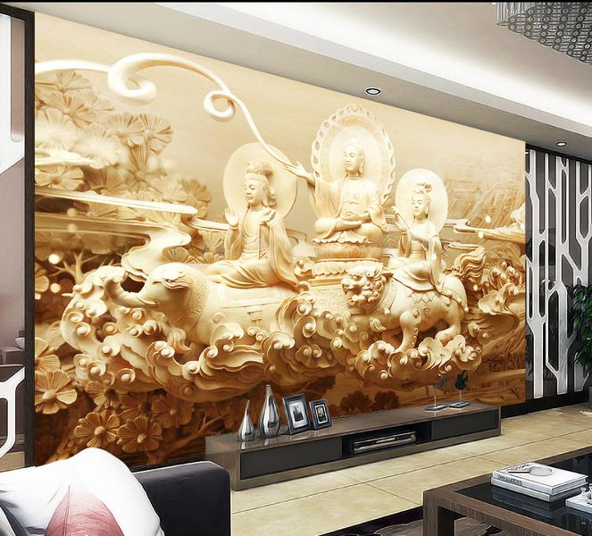 Painting Supplies & Wall Treatments Wallpapers Helpful 3d Room Photo Wallpaper Custom Mural Non-woven Wall Sticker Sacred Buddha Carvings Painting Sofa Tv Background Wall 3d Wallpaper