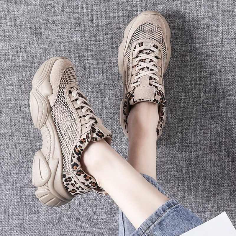 Nefes Hollow Dantel-Up Leopar Kadın Sneakers Tenis Plataforma Kadın rahat ayakkabılar Yaz 2019 Mujer