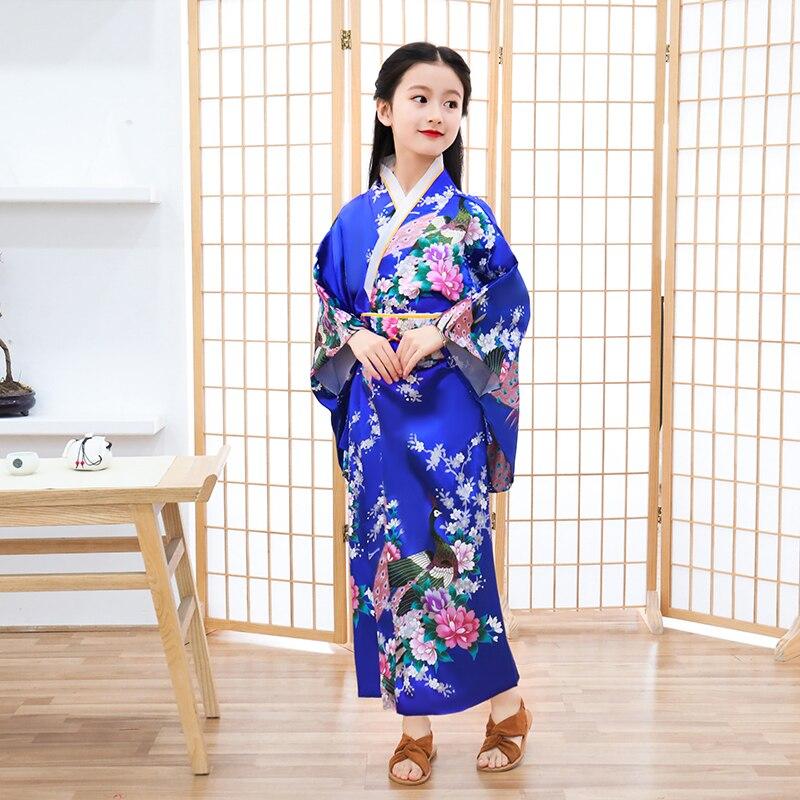 Blue Child Novelty Cosplay Floaral Dress Japanese Baby Girl Kimono Dress Children Vintage Yukata Kid Girl Dance Costumes