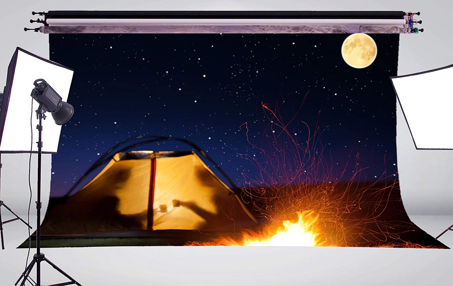 Image 3 - Full Moon Night Fire Tent Background Reunion Scene Photo Studio Backdrop 7x5ft Photography Backdrops Wall-in Photo Studio Accessories from Consumer Electronics