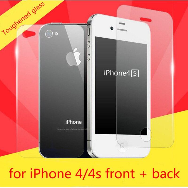 Προστατευτικό γυαλί για το Apple iPhone 4 4s στο προστατευτικό γυαλί Προστατευτική μεμβράνη οθόνης εμπρός + πίσω