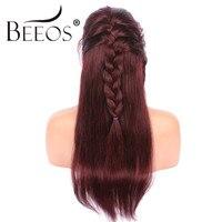 Beeos 150% свободной части Ombre красный прямо парики полный кружева парики человеческих волос Малайзии Волосы remy предварительно сорвал волосяно