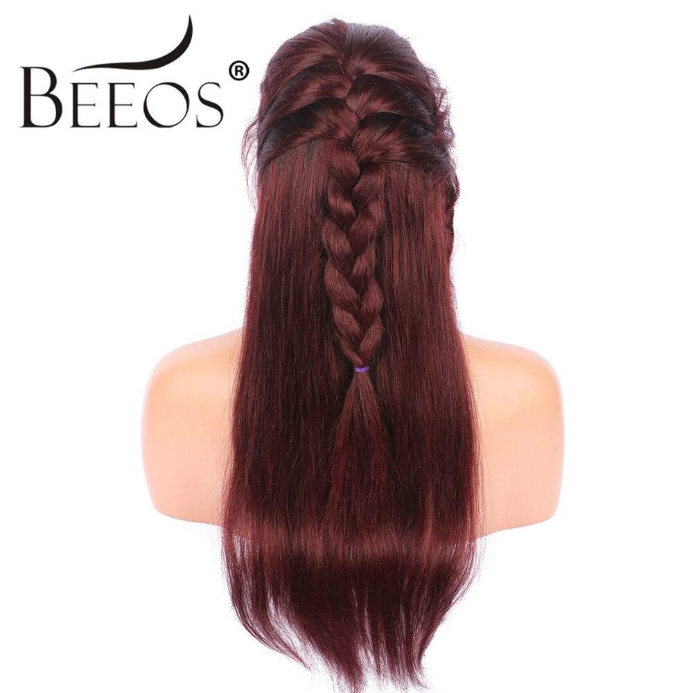 Beeos 150% Livraison Partie Ombre Rouge Droite Perruques Full Lace Perruques de Cheveux Humains Malaisie Remy Cheveux Pré Pincées Dégarni Blanchi noeuds